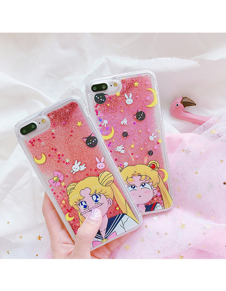 Sailor Moon Usagi Quicksand Phone Case for iphone 6/6s/6plus/7/7plus/8/8p/X/XS/XR/XS Max /Samsung note8/not9/s6/s7/s8/s9 PN0108