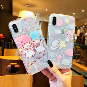 Kawaii Little Twin Star Phone Case for iphone 6/6s/6plus/7/7plus/8/8P/X PN1791