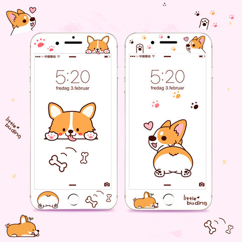 Cute Corgi Phone Tempered Film for iphone 6/6s/6plus/7/7plus/8/8p PN0834