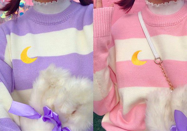 Kawaii Stripe Moon Sweater PN0707