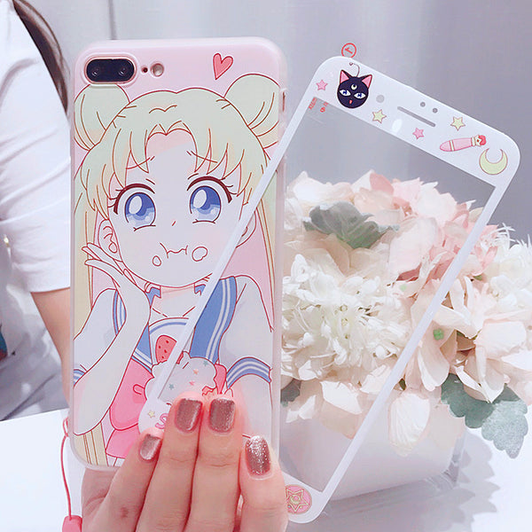 Pink Sailormoon Phone Case for iphone 6/6s/6plus/7/7plus/8/8P/X/XS/XR/XS Max PN0114