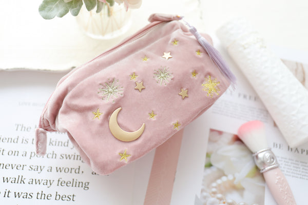 Embroidered Moon and Stars Makeup Bag PN1154