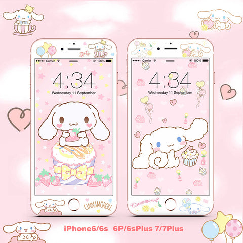 Cute Cinnamoroll Phone Tempered Film for iphone 6/6s/6plus/7/7plus/8/8plus PN1835