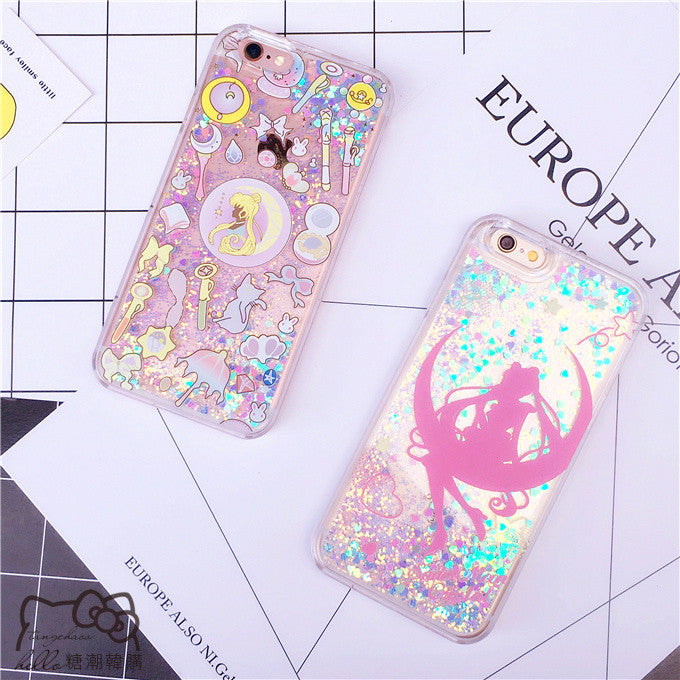 Liquid Quicksand Sailor Moon Phone Case for iphone 6/6s/6plus/7/7plus/8/8plus/X/XS/XR/XS Max PN0192