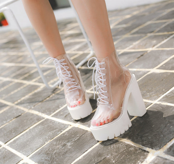 High-heeled Transparent Waterproof Rubber Shoes PN1280