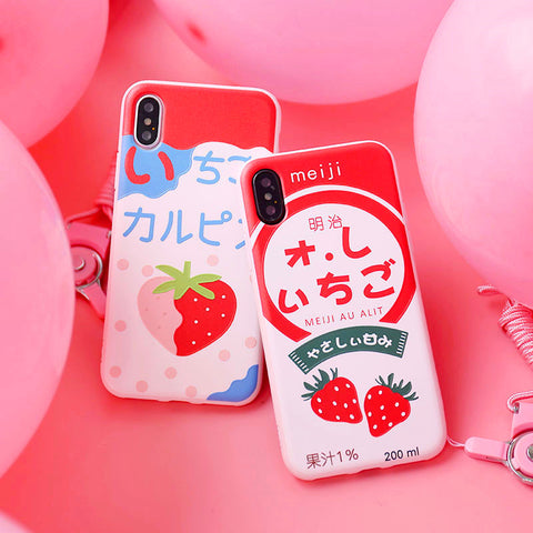 Cute Strawberry Phone Case for iphone 5/5s/5se/6/6s/6plus/7/7plus/8/8P/X/XS/XR/XS Max PN0720