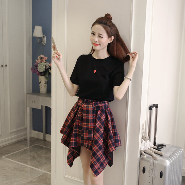 Fashion Heart Tshirt And Skirt Set PN2695