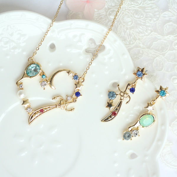 Cute Necklace And Ear Stud PN0416