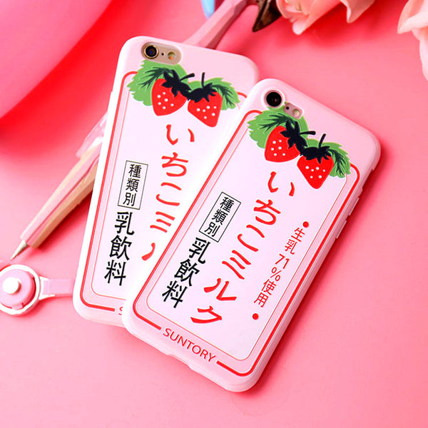 Strawberry Milk Phone Case for iphone 5/5s/6/6s/6plus/7/7plus/8/8P/X/XS/XR/XS Max PN0902