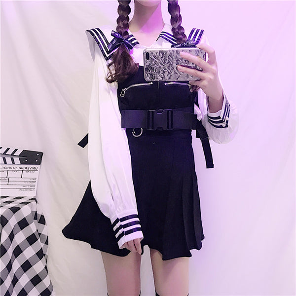 Black Cool Strap Skirt and Navy Top PN2039