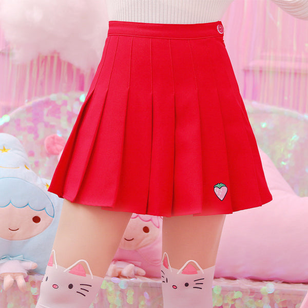 Embroidered Strawberry Pleated Skirt PN1311