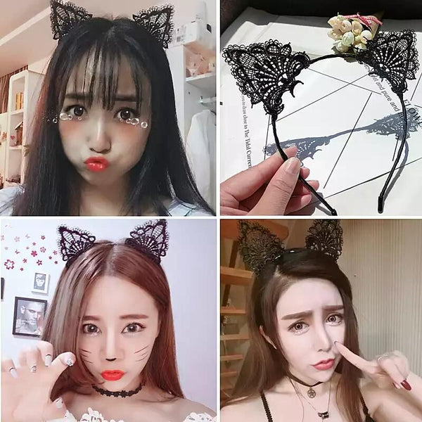 Black Kawaii Cats Hair Clasp PN0394