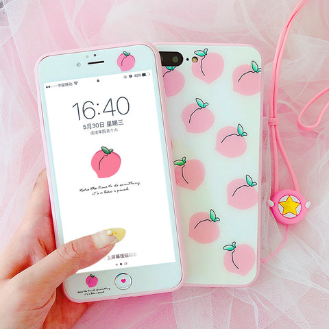 Cute Peach Phone Case for iphone 6/6s/6plus/7/7plus/8/8p/X/XS/XS Max PN0028