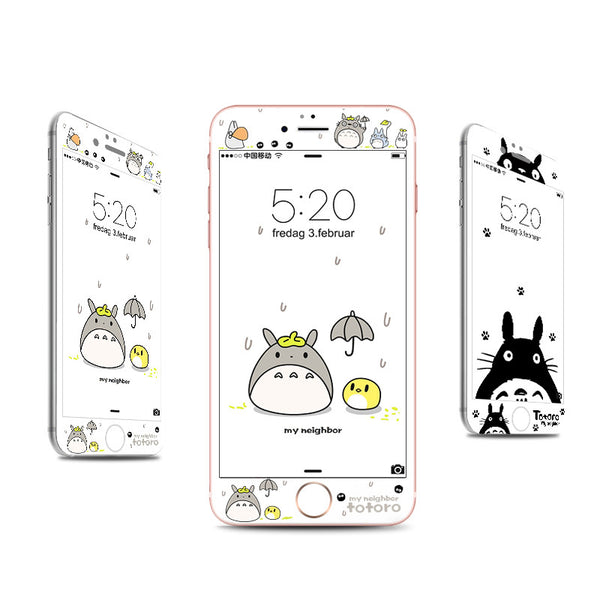 Cute Totoro Phone Tempered Film for iphone 6/6s/6plus/7/7plus/8/8P PN0057