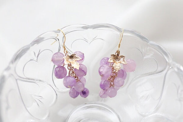 New Purple Grapes Earrings/Clips PN2523