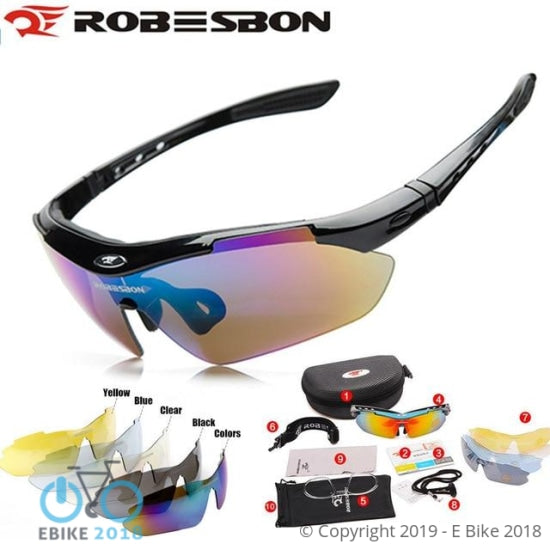1809186160701 - Robesbon Buy One Get 5Pcs Lenses Flip Sunglasses Sports Soccer Night Vision Glass Basketball Biking Mtb Road Uv400 Myopia Strap - E Bike 2018