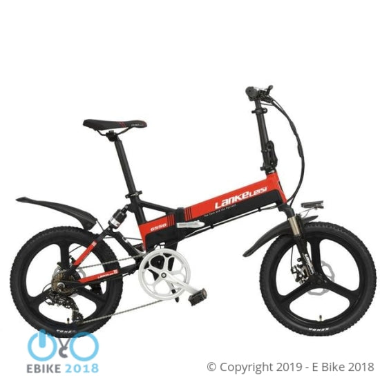 696805163069 - Cyrusher G550 Electric Folding Bike 240W 48V 10Ah Full Suspension 20 Inch 7 Speed 5 Setting Smart Computer Mechanical Disc Brake - E Bike 2018