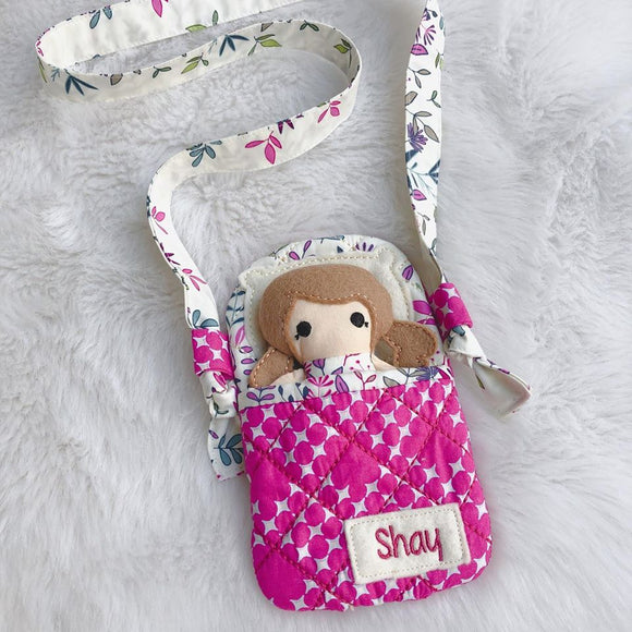 'Carry Me with You' - dolly and bed/bag set (Custom Order)