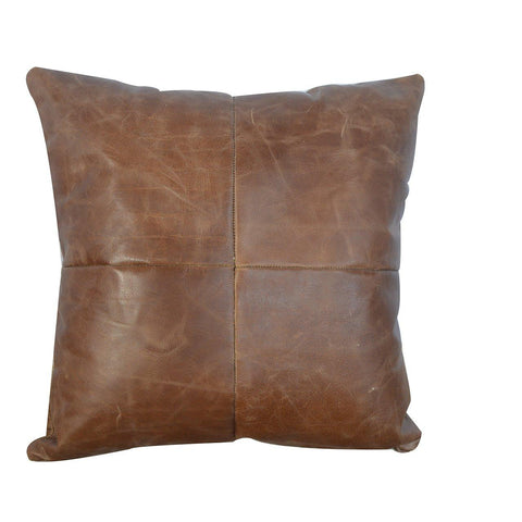Buffalo Hide Leather Cushion - Lost Land Interiors
