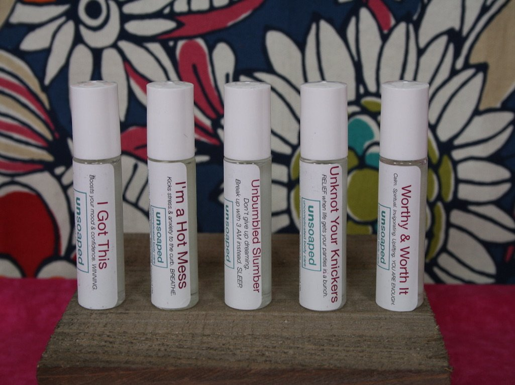 aromatherapy rollons using unsoaped custom essential oils blends