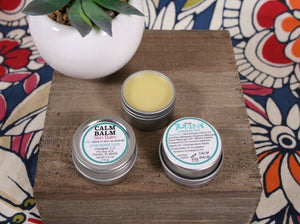 skin balm made from olive oil and beeswax with calming essential oils