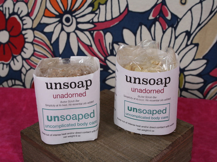 unsoap butter scrub bar with no essential oils