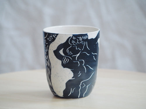 Indigo Abstract Lovers Cup / Small Vase