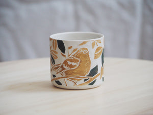 Olive Ochre Bird Mini Planter / Cup I