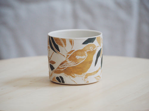 Olive Ochre Bird Mini Planter / Cup II