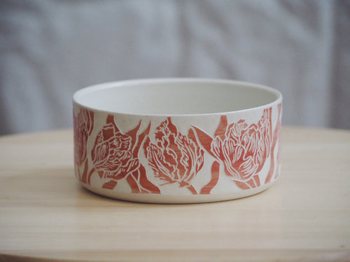 Vermillion Tulip Bowl I