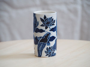 Indigo Koi and Lotus Mini Vase / Cup I