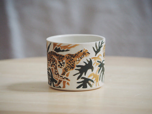 Olive Ochre Cheetah Mini Planter / Cup I