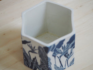 Indigo Bird of Paradise Hexagonal Planter