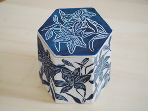 Indigo Lily Hexagonal Lidded Box