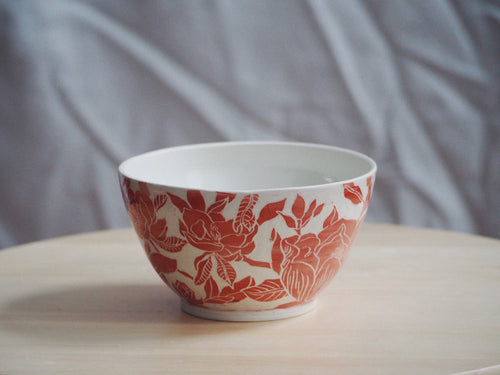 Red Magnolia Glossy Bowl