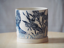 Load image into Gallery viewer, Indigo Blue Jay & Iris Planter with Tray