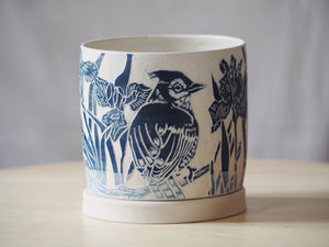 Indigo Blue Jay & Iris Planter with Tray