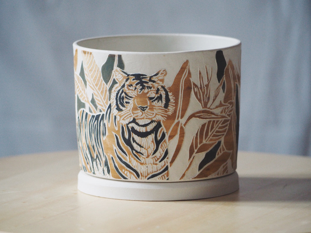 Tropical Tiger Planter with Tray