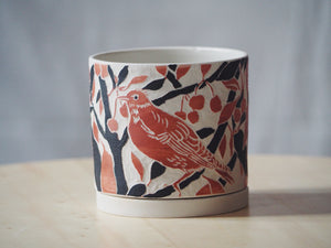 Vermillion Bird Planter with Tray