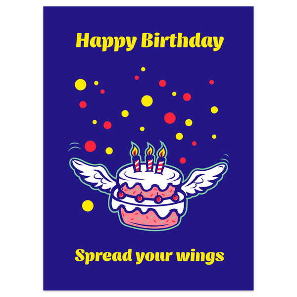 Flying Birthday Cake Card