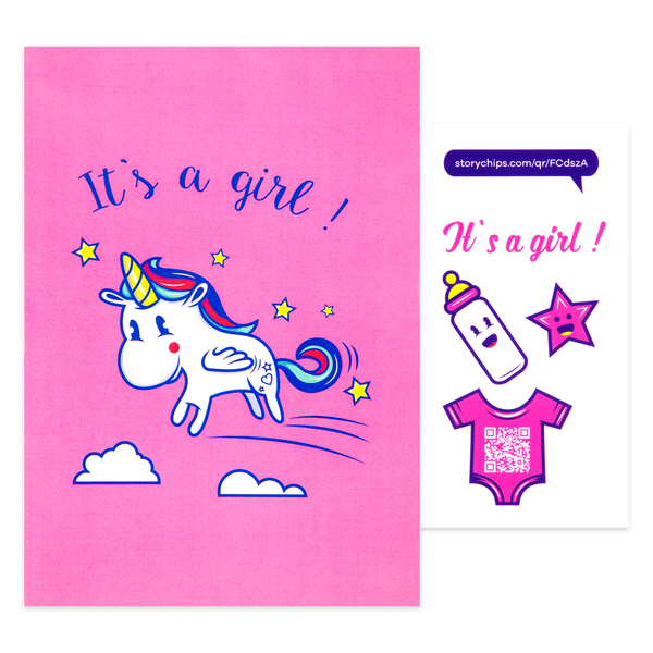 It's a Girl! Unicorn Card