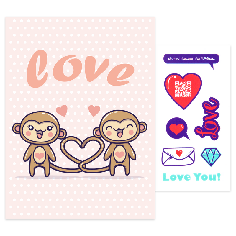 Monkey Love Card