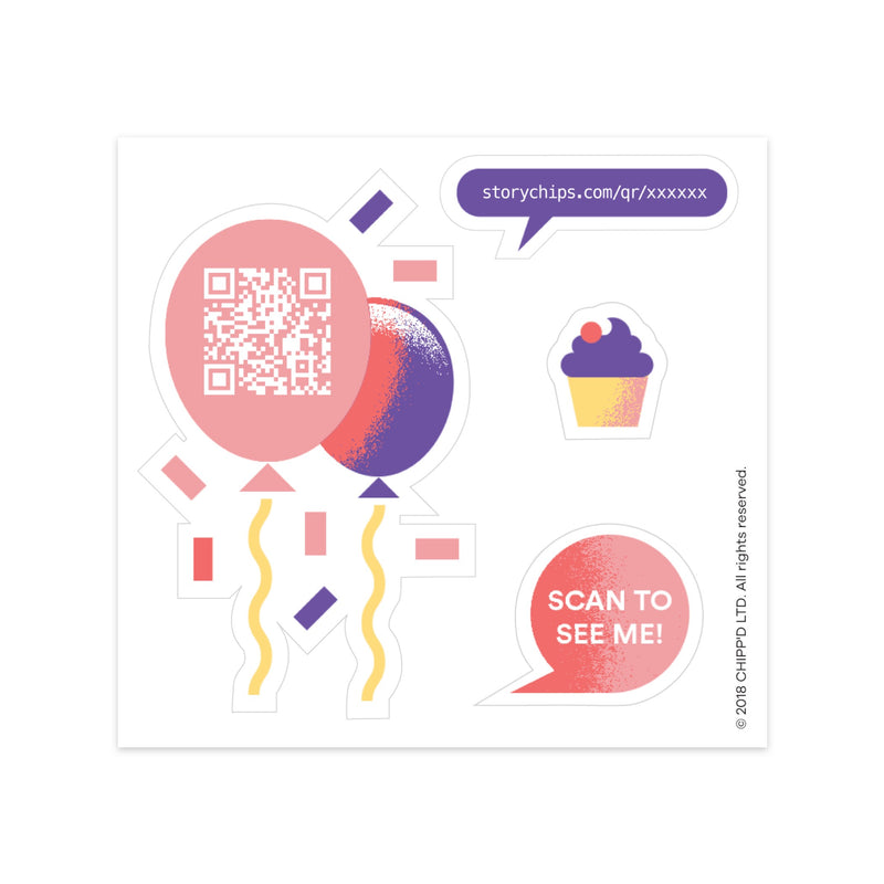 Party Balloons Single Sticker