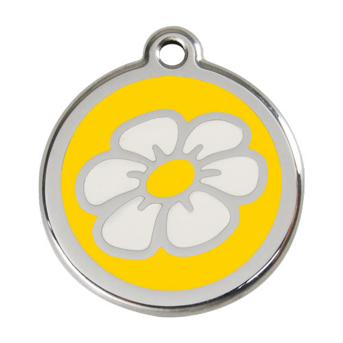 Red Dingo Stainless Steel & Enamel Daisy Dog Tag, Pet ID Tags by Dogs Dogs Dogs