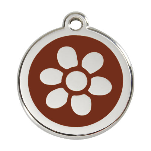 Red Dingo Stainless Steel & Enamel Flower Dog Tag