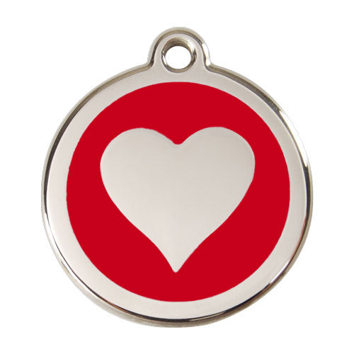 Red Dingo Stainless Steel & Enamel Heart Tag, Pet ID Tags by Dogs Dogs Dogs