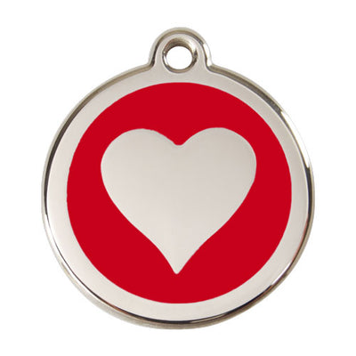 Red Dingo Stainless Steel & Enamel Heart Tag