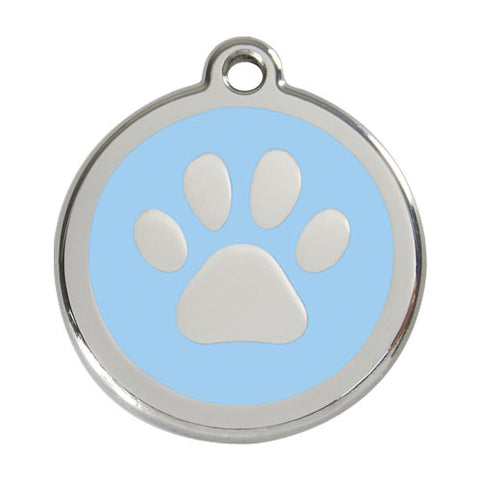 Red Dingo Stainless Steel & Enamel Pawprint Tag