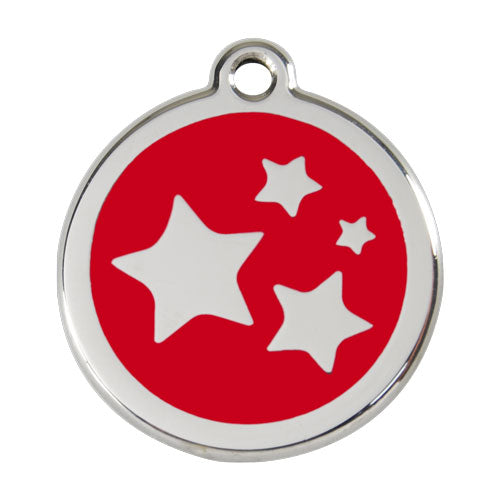 Red Dingo Stainless Steel & Enamel Star Tag, Pet ID Tags by Dogs Dogs Dogs