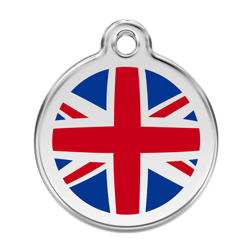 Red Dingo Stainless Steel & Enamel Union Jack Tag, Pet ID Tags by Dogs Dogs Dogs